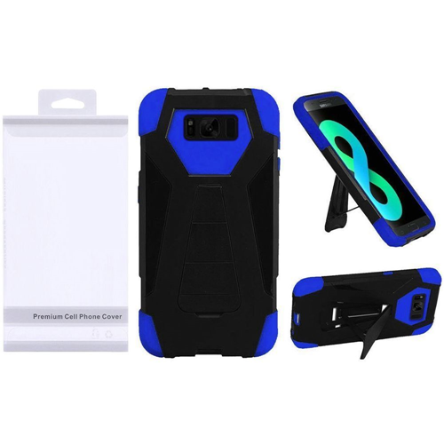 Insten T-Stand Hard Dual Layer Plastic Silicone Case w/stand For Samsung Galaxy S8 Plus, Black/Blue