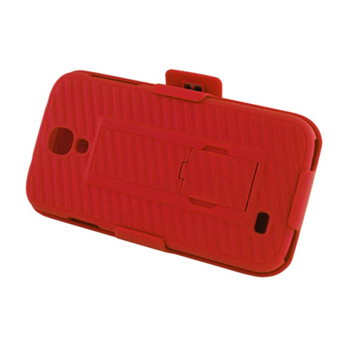 Insten Hard Cover Case w/stand/Holster For Samsung Galaxy S4, Red