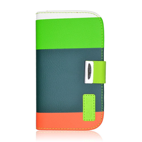 Insten Multicolor Folio Leather Fabric Cover Case w/card holder For Samsung Galaxy S4, Green/Orange
