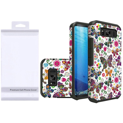 Insten Butterflies Hard Hybrid Rubber Cover Case For Samsung Galaxy S8, Multi-Color