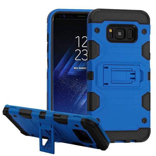 Insten Storm Tank Hard Hybrid Plastic TPU Cover Case w/stand For Samsung Galaxy S8, Blue/Black