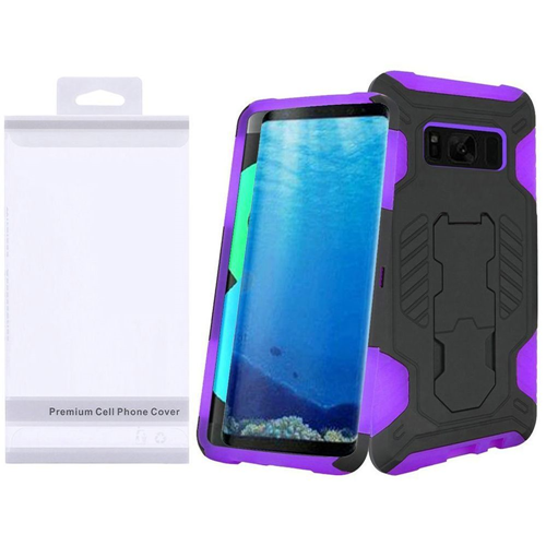 Insten SuperCoil Hard Dual Layer Plastic Cover Case w/stand For Samsung Galaxy S8, Black/Purple