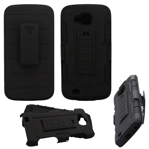 Insten Advanced Armor Hard Hybrid TPU Cover Case w/stand/Holster For LG V9/X Venture, Black