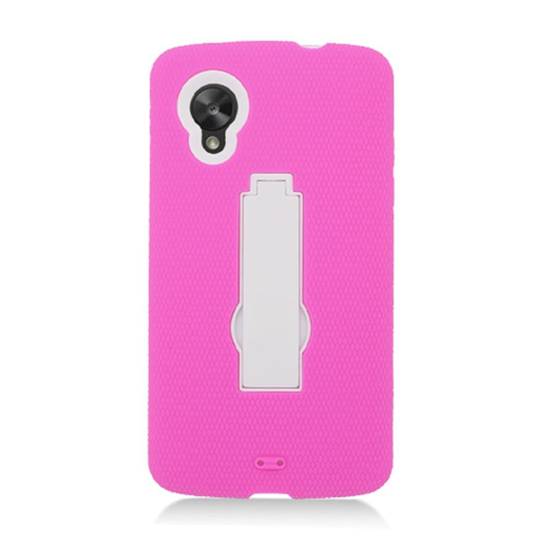 Insten Symbiosis Silicone Rubber Hard Cover Case w/stand For LG Google Nexus 5 D820, Hot Pink/White