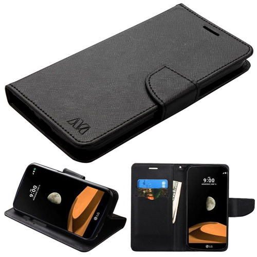 Insten Flip Leather Fabric Case w/stand/card holder/Photo Display For LG V9/X Venture, Black