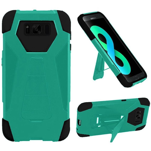 Insten T-Stand Hard Hybrid Rubber Silicone Case w/stand For Samsung Galaxy S8 Plus, Teal/Black