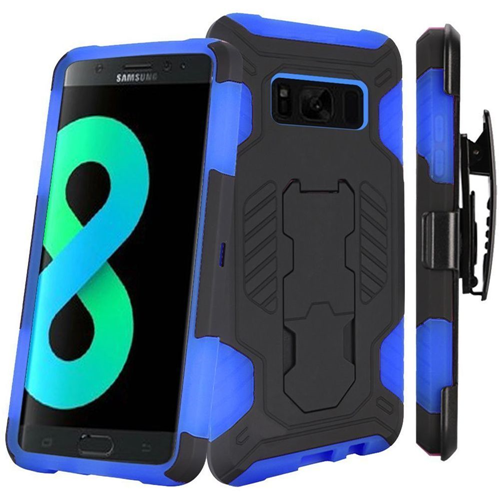 Insten SuperCoil Hard Dual Layer Plastic Case w/stand/Holster For Samsung Galaxy S8 Plus, Black/Blue
