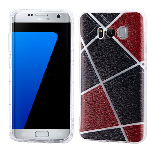 Insten Irregular Geometric Design Hard Fabric TPU Case For Samsung Galaxy S8 Plus, Black/Red