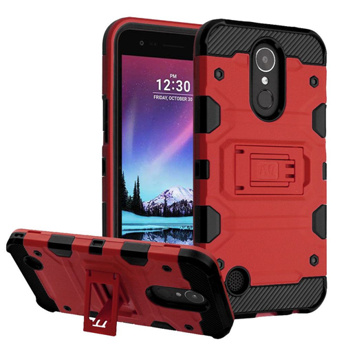 Insten Tank Hard Dual Layer TPU Case w/stand For LG Harmony/K10 (2017)/K20 Plus/K20 V, Red/Black