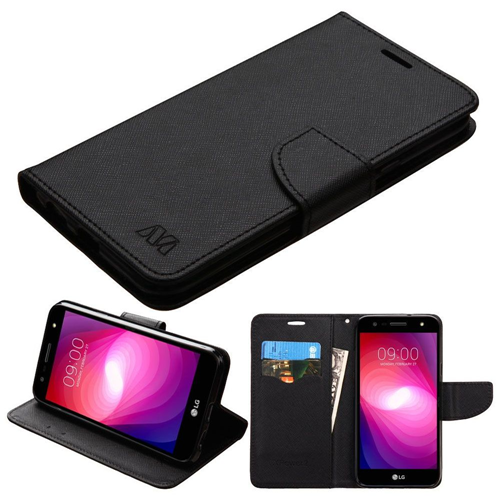 Insten Book-Style Leather Fabric Case w/stand/card holder For LG X Power 2, Black