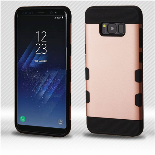Insten Tuff Hard Dual Layer Brushed TPU Cover Case For Samsung Galaxy S8, Rose Gold/Black