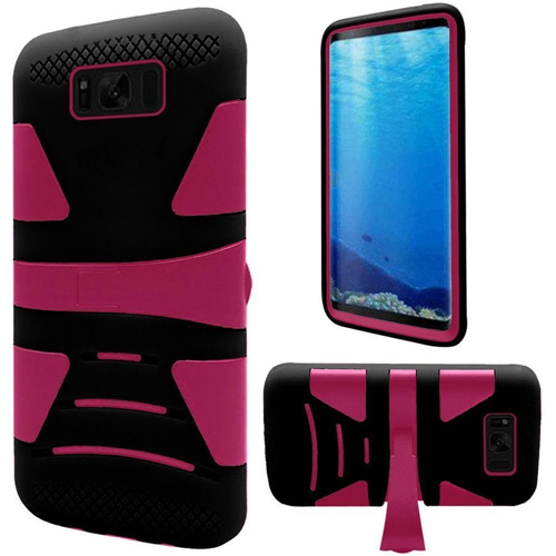 Insten Hard Dual Layer Plastic TPU Cover Case w/stand For Samsung Galaxy S8, Hot Pink/Black