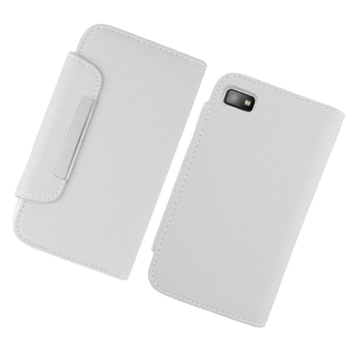 Insten Flip Leather Fabric Case w/card holder For BlackBerry Z10, White
