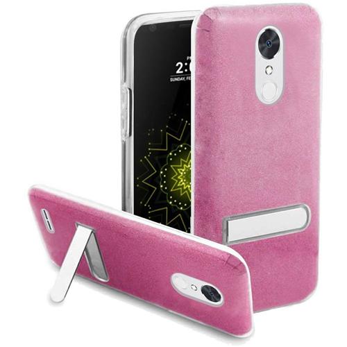 Insten Hard Glitter TPU Case w/stand For LG Grace 4G/Harmony/K20 Plus/K20 V, Rose/Clear