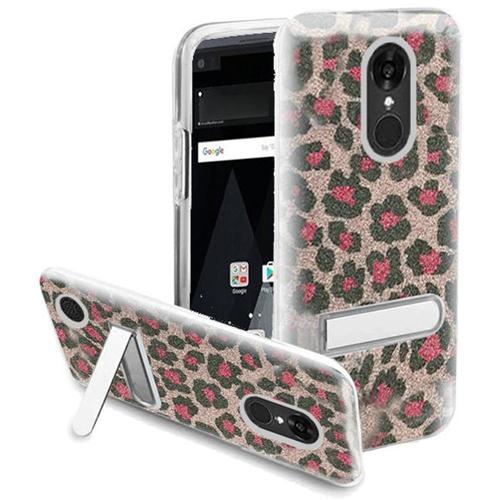 Insten Leopard Hard Glitter TPU Case w/stand For LG Aristo/K8 (2017), Pink