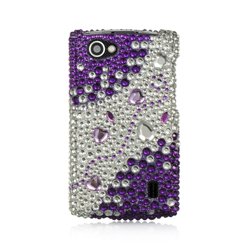Insten Hearts Hard 3D Bling Case For LG Optimus M+, Silver/Purple