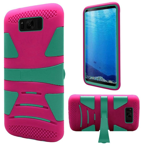 Insten Hard Dual Layer Plastic TPU Case w/stand For Samsung Galaxy S8, Teal/Hot Pink