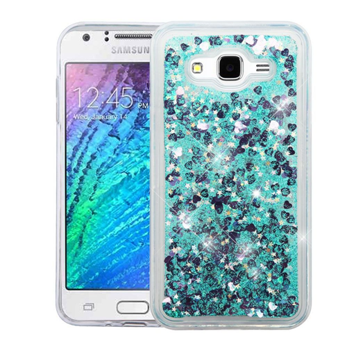 Insten Quicksand Hearts Hard Glitter Case For Samsung Galaxy J7 (2015), Green