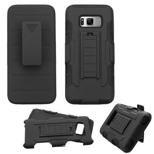 Insten Advanced Armor Hard Hybrid TPU Case w/stand/Holster For Samsung Galaxy S8 Plus, Black