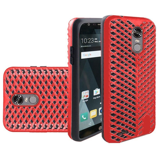 Insten ZigZag Hard Hybrid TPU Case For LG Stylo 3, Red/Black