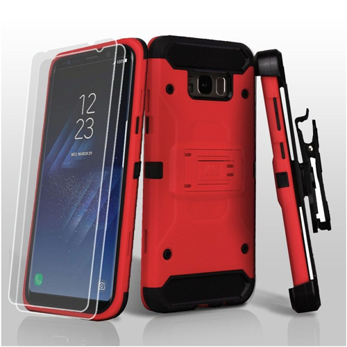 Insten Kinetic Hard Plastic TPU Case w/stand/Holster/Bundled For Samsung Galaxy S8, Red/Black