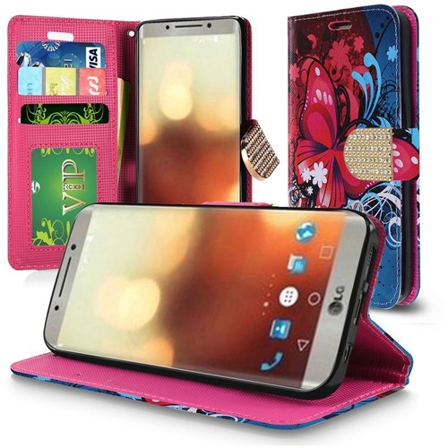 Insten Book-Style Leather Fabric Case Lanyard w/stand/card holder/Diamond For LG G6, Multi-Color