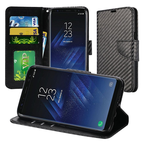 Insten Carbon Fiber Flip Leather Fabric Case w/stand/card holder For Samsung Galaxy S8 Plus, Black