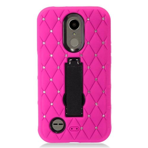 Insten Hard Rubber Case w/stand/Diamond For LG Harmony/K10 (2017)/K20 Plus/K20 V, Hot Pink/Black