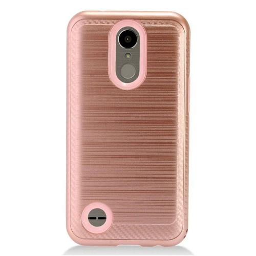 Insten Chrome Brushed Hard Case For LG K10 (2017)/K20 Plus/K20 V, Rose Gold/Pink