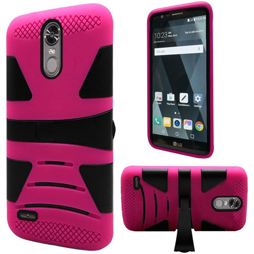 Insten Hard Dual Layer TPU Case w/stand For LG Stylo 3, Hot Pink/Black