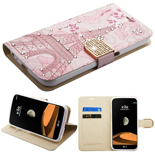 Insten Eiffel Tower Book-Style Leather Fabric Case w/stand/card holder/Diamond For LG V9, Pink