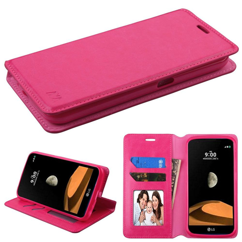 Insten Flip Leather Fabric Cover Case w/stand/card holder/Photo Display For LG X Calibur, Hot Pink