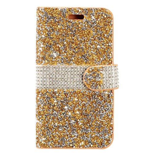 Insten Book-Style Leather Rhinestone Case w/card holder For LG Stylo 3, Gold/Silver