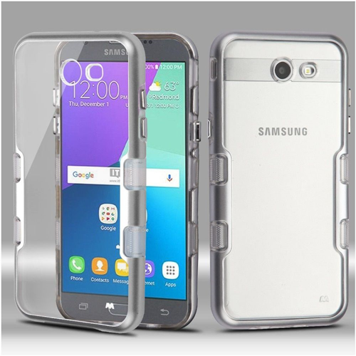Insten Hard Hybrid Case For Samsung Galaxy Amp Prime 2/Express Prime 2/J3 (2017), Silver/Clear