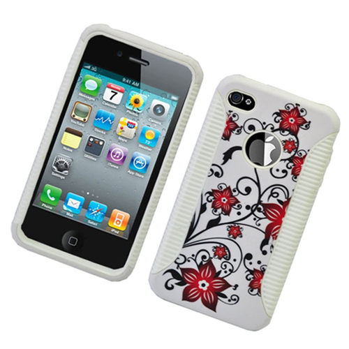 Insten Flowers Hard Hybrid Plastic TPU Cover Case For Apple iPhone 4/4S, White/Red