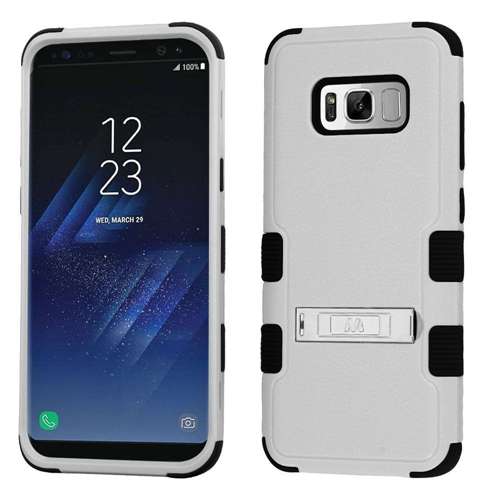 Insten Tuff Hard Hybrid Plastic TPU Case w/stand For Samsung Galaxy S8, Gray/Black