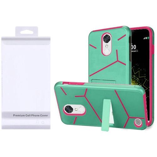 Insten Hard Plastic TPU Case w/stand For LG Grace 4G/Harmony/K20 Plus/K20 V, Teal/Hot Pink
