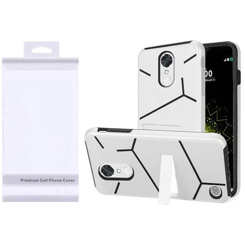 Insten Hard Dual Layer Plastic TPU Case w/stand For LG Grace 4G/Harmony/K20 Plus/K20 V, White/Black