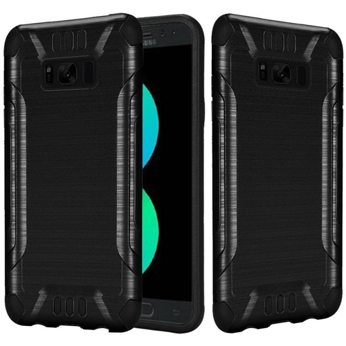 Insten Hard Dual Layer Brushed TPU Case For Samsung Galaxy S8 Plus, Black