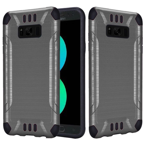 Insten Hard Dual Layer Brushed TPU Cover Case For Samsung Galaxy S8 Plus, Gray/Black