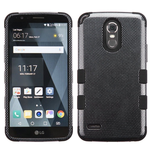 Insten Tuff Carbon Fiber Hard Hybrid Plastic TPU Case For LG Stylo 3 Plus, Black
