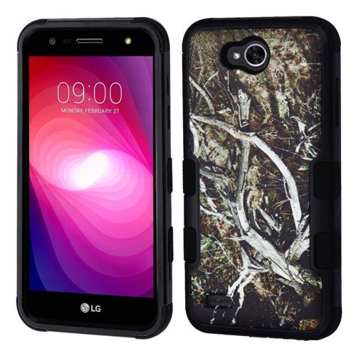 Insten Tuff Vines Hard Hybrid Plastic TPU Cover Case For LG X Power 2, Black/Green