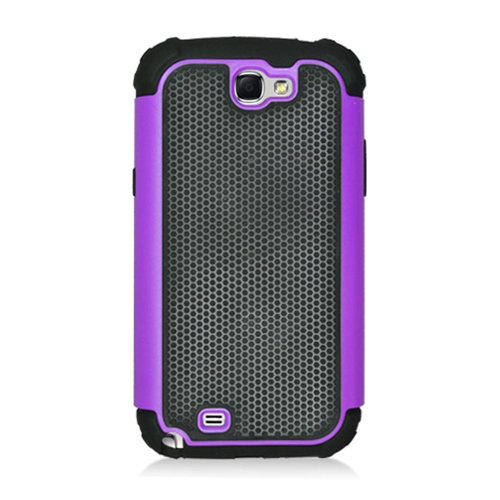 Insten Armor Vision Hard Dual Layer Rubber Silicone Case For Samsung Galaxy Note II, Black/Purple