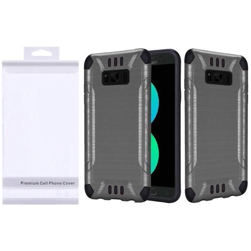Insten Slim Armor Hard Hybrid Brushed TPU Cover Case For Samsung Galaxy S8 Plus, Gray/Black