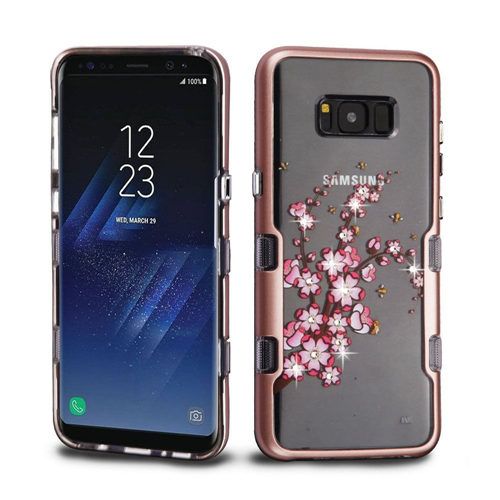 Insten Spring Flowers Hard Plastic TPU Case w/Diamond For Samsung Galaxy S8 Plus, Rose Gold/Clear