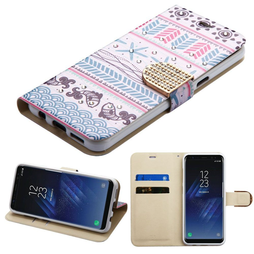 Insten Jumping Fish Folio Leather Fabric Case w/stand/Diamond For Samsung Galaxy S8, Multi-Color