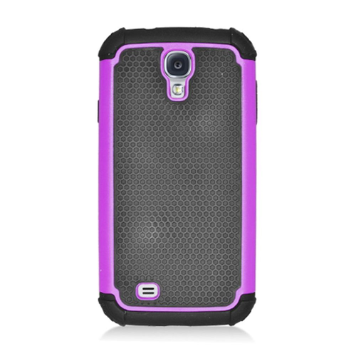 Insten Armor Vision Hard Dual Layer Rubber Coated Silicone Case For Samsung Galaxy S4, Black/Purple