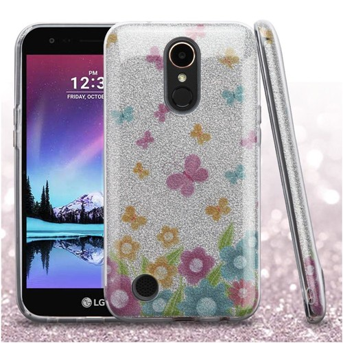 Insten Glitter Butterflies Hard Hybrid Case For LG Harmony/K10 (2017)/K20 Plus/K20 V, Colorful