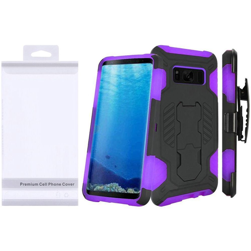 Insten SuperCoil Hard Hybrid Plastic Cover Case w/stand/Holster For Samsung Galaxy S8, Black/Purple