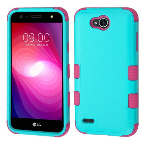 Insten Tuff Hard Dual Layer Plastic TPU Case For LG X Power 2, Teal/Hot Pink